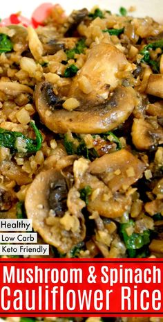 Make this Easy Low Carb Mushroom & Spinach Cauliflower Rice in batches and use as a healthy side dish for a low carb breakfast, lunch or dinner! Recipes on the go Easy Low Carb Mushroom & Spinach Cauliflower Rice Low Carb Side Dishes, Healthy Side Dishes, Veggie Dishes, Side Dish Recipes, Vegetable Recipes, Food Dishes, Low Carb Recipes, Diet Recipes, Vegetarian Recipes