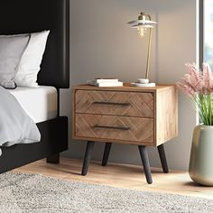 2 Drawer Nightstand, Nightstands, Nightstand Ideas, Bedroom Night Stands, Square Tables, Luxurious Bedrooms, Coastal Bedrooms, Master Bedrooms, Bedroom Styles