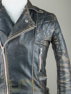 Vintage Motorcycle City Leather Biker Jacket With Patina lewis image one