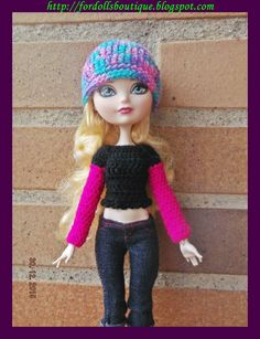 Jersey y gorro para muñecas Monster H. & Ever dolls (handmade High quality clothes) de Fordollsboutique en Etsy