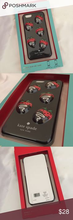 Kate spade hybrid snap iPhone 6/6s case Brand new never used, super cute strawberry chocolate hybrid snap on case from Kate spade, fits all iPhone 6/6s kate spade Accessories Phone Cases