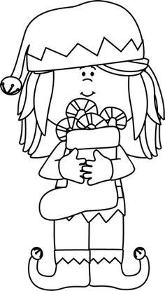 clip art black and white Black and White Girl Christmas Elf Clip Art black and white outline Christmas elf Christmas girl Elf images