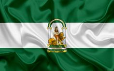 Download wallpapers Flag of Andalucia, autonomous community, province, Spain, Andalucia, silk flag, Andalucia coat of arms