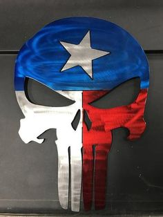 Texas Punisher Skull Texas Flag Punisher Metal Art Material: Steel Size: Coatings: All Powder Coatings Made in the USA Punisher Tattoo, Punisher Logo, Punisher Marvel, Punisher Skull, Texas Flag Tattoo, Texas Tattoos, Mother Daughter Tattoos, Tattoos For Daughters, Airbrush