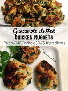 Guacamole Stuffed Chicken Nuggets (Paleo, AIP, Whole30, 21DSD, 5 ingredients!) // TheCuriousCoconut...