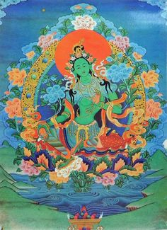 Green Tara - Buddhist Posters (Reprint on Paper - Unframed) This is my favorite mantra! It would be amazing to find a statue or some way to put her up to see everyday Tara Goddess, Goddess Art, Indian Goddess, Green Tara Mantra, Buddhism Symbols, Small Lotus Flower Tattoo, Vajrayana Buddhism, Buddha Tattoos, Tibetan Art