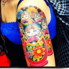 Amazing Colorful Matryoshka Doll Tattoo