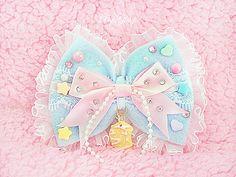 Cotton Candy Baby Ruffly Sweets Deco Bow - Fairykei Sweet Lolita Hime Loli Harajuku Japanese Street Fashion Oshare Magical Girl Pop Pastel