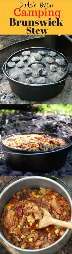 Brunswick Stew - a delicious tomato based stew containing lima beans, okra, corn and other vegetables, plus various types of smoked meats. Perfect cooked over hot coals in a Lodge Dutch Oven after a fun day hiking and enjoying the great outdoors! http://www.savingdessert.com