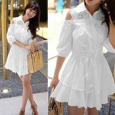 Sexy White Tunic Mini Dress Casual Shirt Off Shoulder - $33