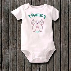 ABSOLUTELY BEAUTIFUL Faux rhinestone I love Mommy Butterfly custom infant baby shirt or bodysuit style creeper- Cute first outfit clothes by rhidesignedapparel on Etsy