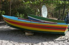 The bright colors of the island are easily spotted and influenced the color scheme; these cheerful fishing boats are everywhere.