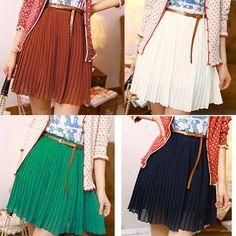 Nouvelle mode des femmes jupes plissées 2014 vintage./mousseline. mini jupes pour femmes/marque casual femmes clothing+belt