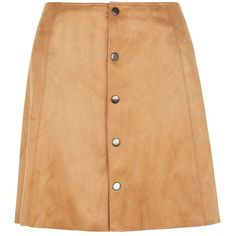 Fashion Union Tan Suedette Button Front Skirt ($31) ❤ liked on Polyvore featuring skirts, tan skirt, fashion union, beige skirt, flare skirt and summer skirts