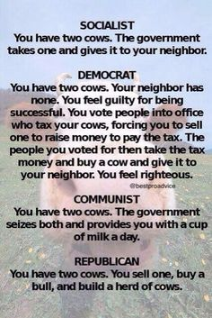 1/18/17  11:37a   GOP  Would take the Cows away from you You would Rent them and Pay for the Milk!