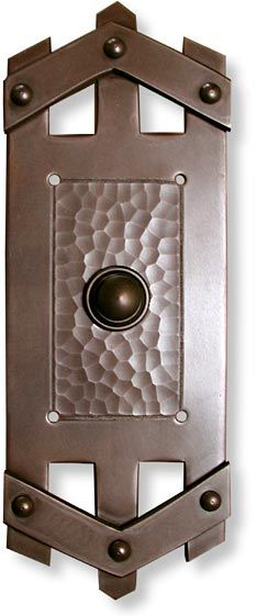 Hammered solid copper doorbell buttons in the craftsman style