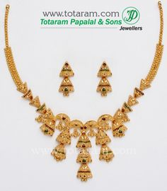 22K Gold Necklace & Drop Earrings Set - GS516 - Indian Jewelry from Totaram Jewelers