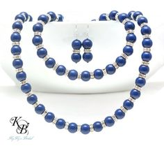 Beautiful Blue Lapis Swarovski Pearl Jewelry Set with Silver Plated Crystal Rondelles, Blue Jewelry Sets, Pearl Jewelry Set, Bridesmaid Jewelry Set, Bridal Jewelry Set, Something Blue Jewelry, Blue Necklace, Blue Bracelet | KyKy's Bridal, Handmade Bridal Jewelry, Wedding Jewelry #wedding #bride #somethingblue #bridesmaid #weddingjewelry #bluejewelry #jewelryset #love #handmade #shopkykysbridal
