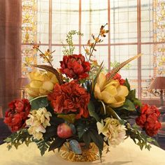 Rosdorf Park Silk Hydrangea and Peonies Floral Arrangement in Decorative Vase | Wayfair