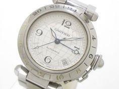 Authentic Cartier Pasha C Meridian GMT Timezone W31078M7 Unisex Wristwatch #Cartier