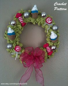 Christmas Wreath Cupcakes Candies and Lollipops  by natyo2010, $5.00