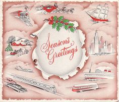 """Vintage Christmas Greeting Card ~  """"Through a rapidly changing world, we still adhere to the age old custom of setting aside business problems in favor of friendly greetings at this holiday season. May we express our appreciation for our pleasant association and extend sincere wishes for a Merry Christmas and a Happy New Year. Dan Dugan."""" * Travel Agent Transport Business Card"""