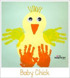 Kids Easter Craft Handprint Baby Chick