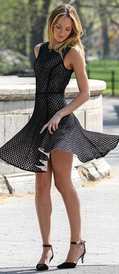 Candice Swanepoel twirling in a B & W Skater Dress