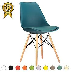 SALE 6 X Eiffel Inspired Design Chair Natural Wooden Legs Seat With Cushion Color Grey