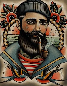 american traditional sailor tattoos | Color Ink Flowers And Sailor Tattoo Design