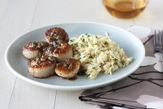 Seared Scallops with Herb Butter Sauce and Orzo - Handle the Heat