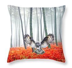 Nature Throw Pillow Great Gray Owl Accent Pillow by FineArtography