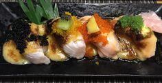 Aburi (Slightly Burned) Hamachi and Salmon Sushi [2462 x 1278]