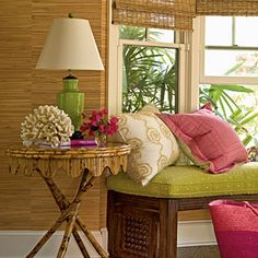 Classic Inspiration   Preppy greens and pinks offer bold bursts of color against this neutral setting, while woven blinds and textured wallpaper add interest   CoastalLiving.com