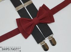 This stylish BURGUNDY BOW TIE & BLACK SUSPENDERS are great for so many occasions!  BABY SET (6 - 18 mo):  ~ BOW TIE - pre-tied and made with a 13.5 long