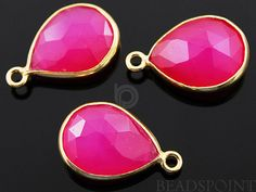 Fuschia Hot Pink Chalcedony Bezel  Baby Pear Shape by Beadspoint, $7.99