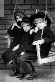 Amish children on porch swing ~ Sarah's Country Kitchen ~