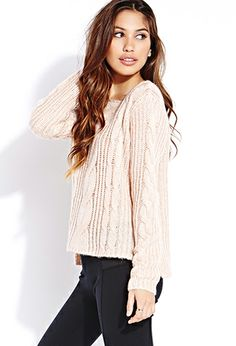 Fuzzy Cable Knit Sweater | FOREVER 21 - 2031558210