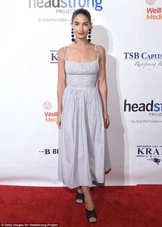 Gorgeous in grey: Lily Aldridge stunned on the red carpet of the Headstrong Project Words ...