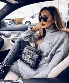 winter look by @dajanaic; grey sweater shirt, grey jeans, Chanel brooch, matte red lips
