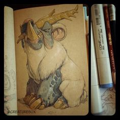 character art - by CreatureBox Character Concept, Character Art, Concept Art, Character Design, Moleskine, Marker Art, Art Journal Inspiration, Fantasy Artwork, Creature Design