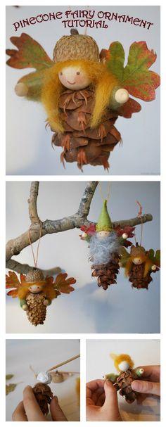 DIY Pinecone Fairy Ornaments More
