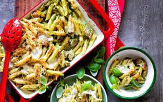 This delicious chicken pesto pasta bake contains no cream for a healthy take on the classic recipe. Serve with cheese, pine nuts and homemade pesto.