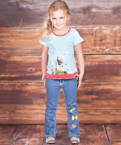 This Light Blue Cottage Tee & Jeans - Infant, Toddler & Girls by Jelly the Pug is perfect! #zulilyfinds
