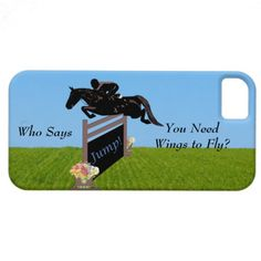 "Fun horse iPhone 5 case with a horse and rider jumping over a big fence with flowers on each side and the saying ""Jump!"" on the bottom of the fence. Perfect gift for any equestrian jumper! #horses #jumping #horselover"