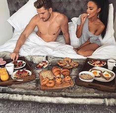 So cute! Cute couple have breakfeast.