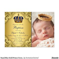 Royal Blue Gold Prince Crown Baptism Card