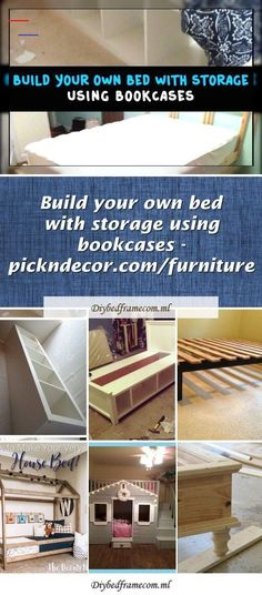 Inexpensive, simple and low-waste platform bed pla Bookcase Storage, Bed Storage, Diy Interior, Ana White, Anna White Plans, Early American Furniture, Diy Pallet Bed, Bed Pallets, Attic Bed
