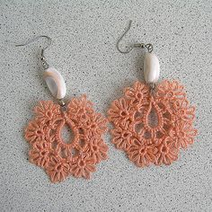 Tatted Lace Earrings Vintage Shell Beads Tatting by MyWealth