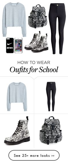 """School outfit"" by leonormoral on Polyvore featuring MANGO, H&M, Dr. Martens, Aéropostale and NIKE"